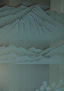 mountain landscape etched glass desert design carved bighorn sheep