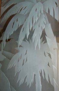 sandblasted glass etched glass palm trees fronds sans soucie