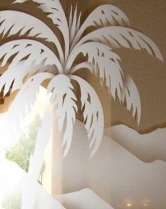 Etched glass Western or Beach Style Palm Tree with Mountains background