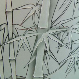 frosted glass asian decor bamboo stalks