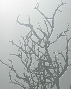 frosted glass rustic decor trees branches private glass