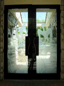Sans Soucie Entry Doors Etched Glass Rustic Asian Wildlife