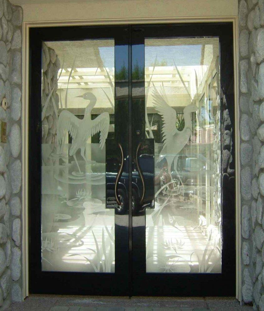 Design Asian Decor cranes ii 2d etched glass doors asian decor double entry door with birds lake wildlife scene