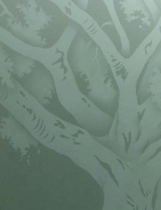 Etched Glass Rustic Decor Oak Trees Country Decor