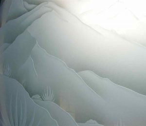Frosted Glass Western Decor Mountains Foliage
