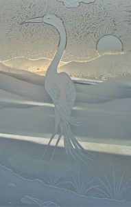 Frosted Glass Asian Decor Egret Birds Sunrise
