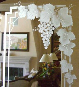 wine cellar doors etched glass garland 3D