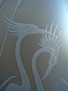 Carved Glass Asian Decor Nature Birds Cranes Cattails