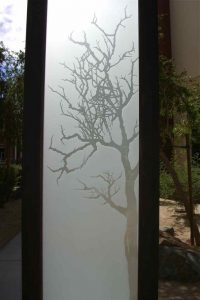 etched glass door rustic decor trees branches private