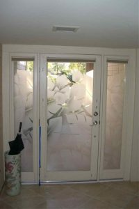 Glass Entry Doors Etched Glass Tropical Decor Banana Leaves