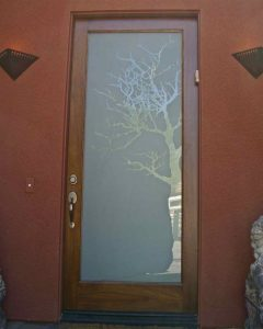 glass front entry doors etched glass rustic decor trees branches