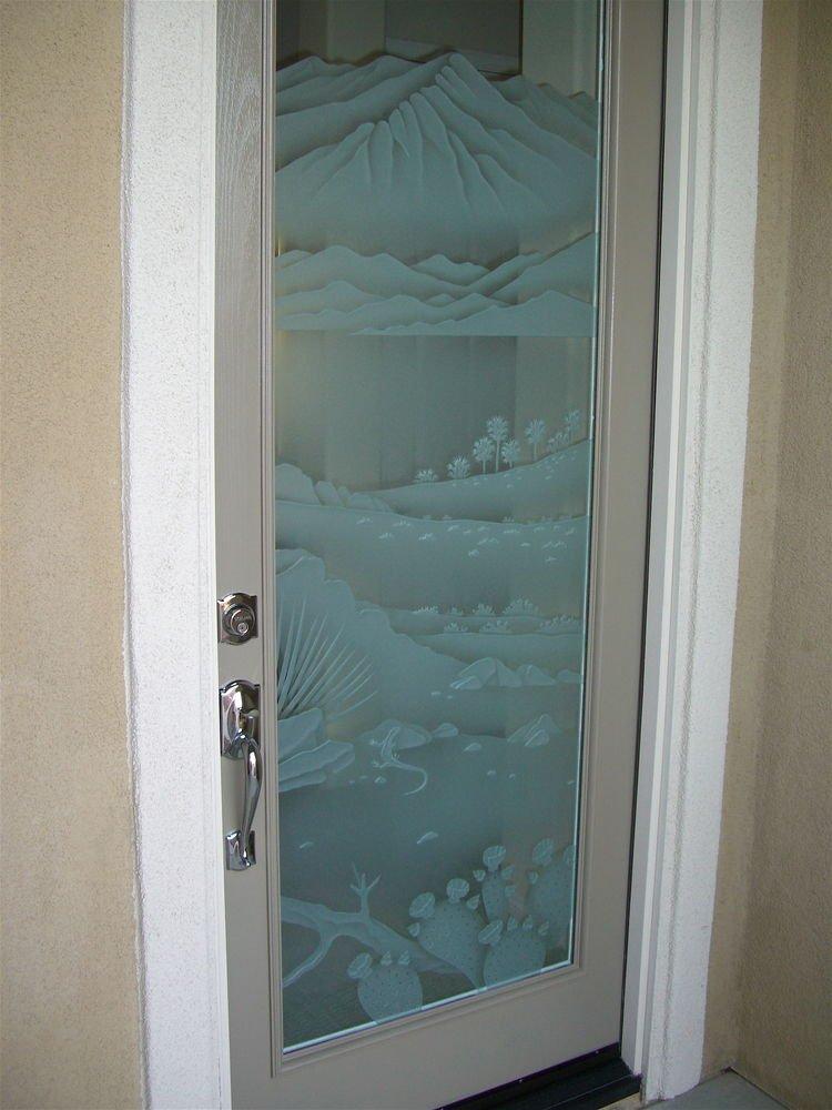 Interior Glass Doors Etched Glass Western Decor Desert Lizard Pear