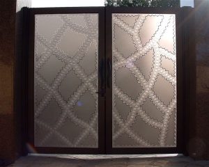 Glass Gate Inserts Carved and Etched Moroccan Pattern by Sans Soucie
