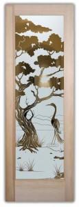 glass doors sandblasted glass outdoors leaves foliage asian decor sans soucie bonsai egret