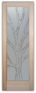 etched glass door tree trunk branches pinstripes