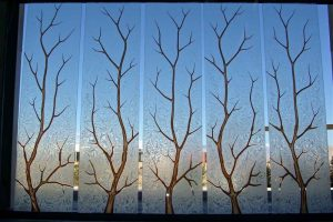 custom glass etched trees rustic decor style decorative glass