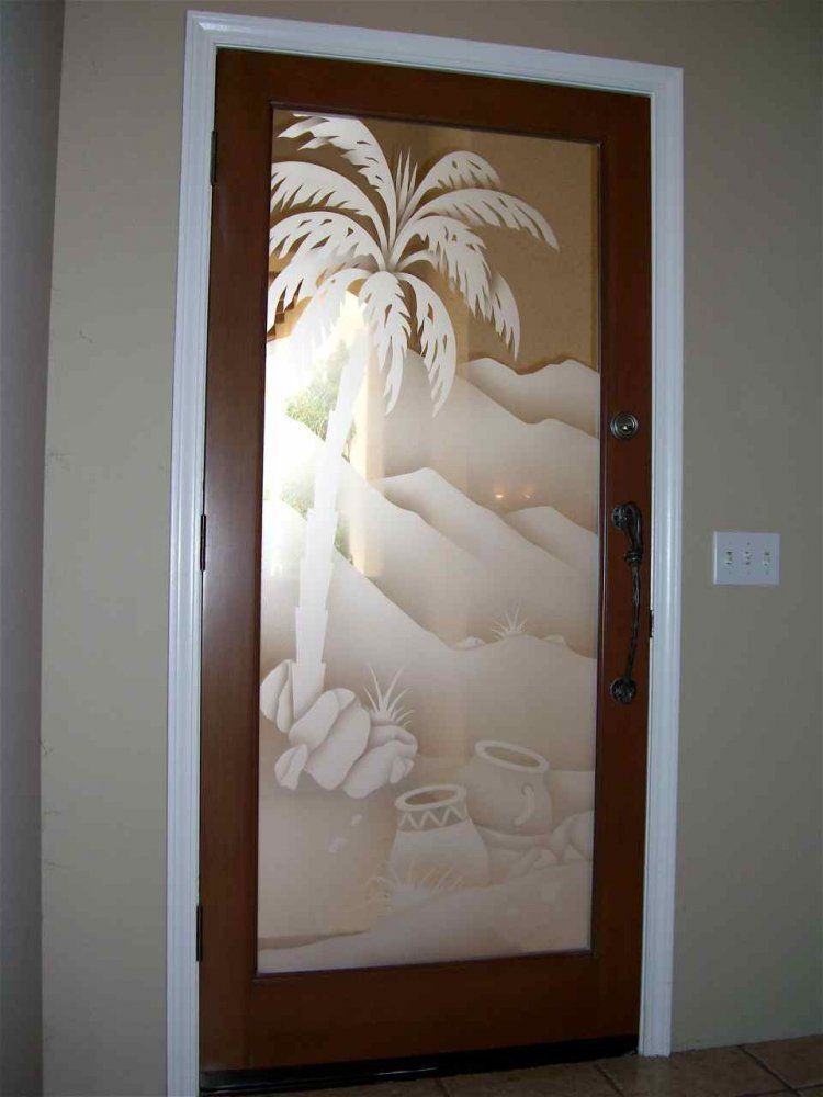Desert Palm With Pottery Etched Glass Doors Desert Decor