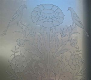 Carved Etched Glass French Style Floral Perch English Country Decor