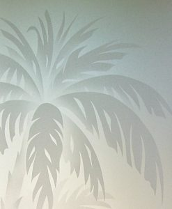 Sandblasted Glass Beach Decor Palm Trees Sunset Coastal Decor