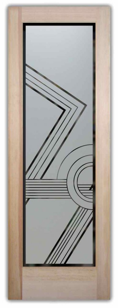 Contemporary Etched Glass Doors Frosted Geometric Door