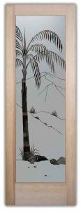 Etched Glass Queen Palm Tree Door Frosted Glass Doors Desert