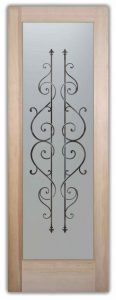 Wrought Iron Design Etched Glass Doors zamora sans soucie