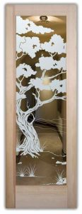 interior glass doors etched glass asian design trees leaves wooden bonsai sans soucie
