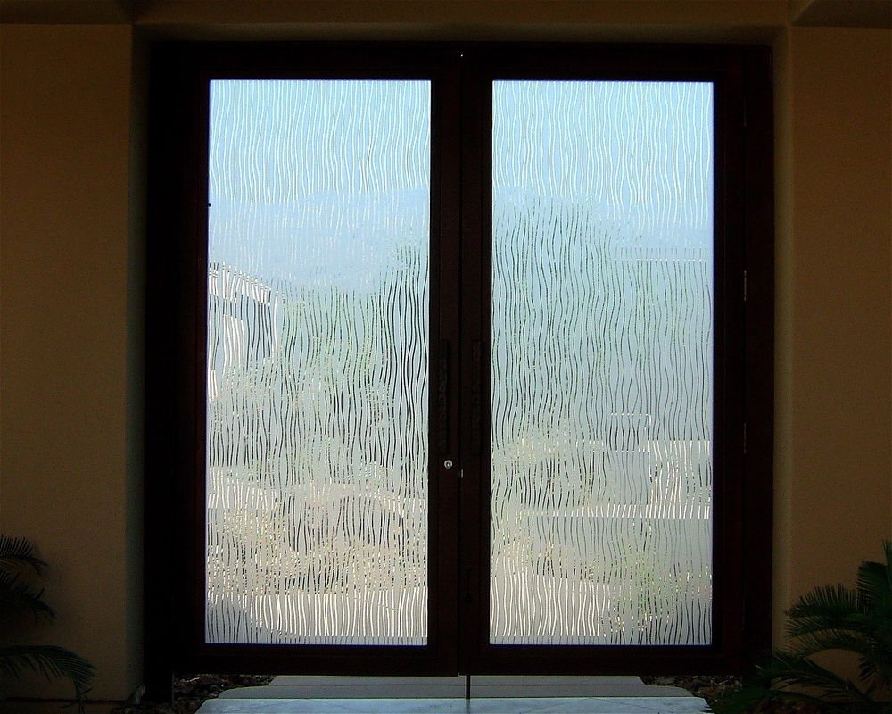 Water Trails Etched Glass Front Doors Mediterranean Decor