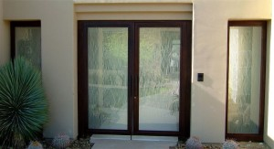 double entry doors frosted glass linear falling lines mediterranean decor sans soucie water trails
