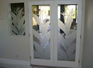 double interior glass doors etched glass tropical decor bird of paradise