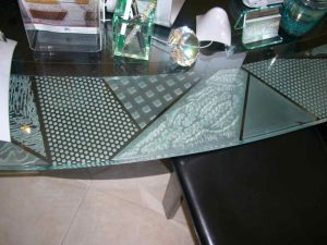 Sans Soucie Bar Top with Etched Carved and Edge Lit Glass Modern