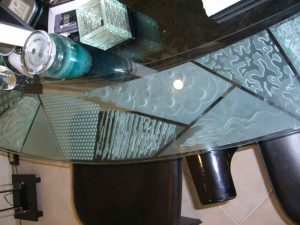 Bar Top with Carved Etched and Edge Lit Glass Modern by Sans Soucie