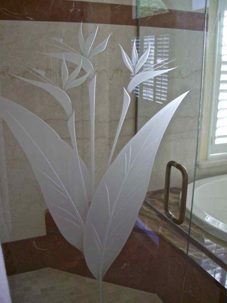 Brd Of Prdse Gls Shr Doors Etched Glass Tropical Design