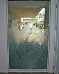 glass window frosted glass tropical design foliage plants tropical leaves sans soucie