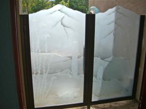 Glass Gate Inserts Carved and Frosted Western Rustic by Sans Soucie