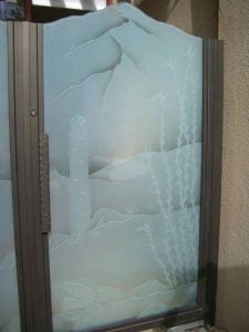 Glass Gate Inserts Frosted and Carved Western Rustic by Sans Soucie