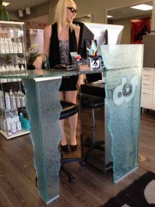 Salon Front Reception Desk with Gluechipped Craved and Painted Etching by Sans Soucie