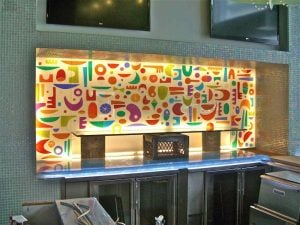 Glass Partitions Enclosed with Carved and Painted Etching Art Deco Modern abstract by Sans Soucie