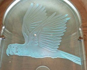 Etched Carved Glass Sculpture Doner Plaques Bird by Sans Soucie