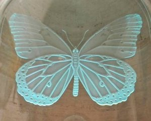Etched Carved Glass Sculpture Doner Plaques Butterfly by Sans Soucie