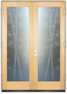 Double Entry Doors Etched Glass Asian Decor Bamboo Shoots Foliage