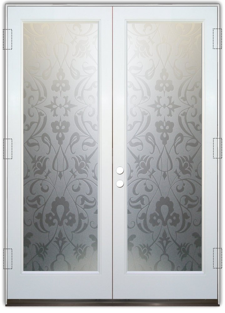 Floweret 2d Private Pair Etched Glass Doors Victorian Style
