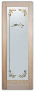 Laundry Room Door with Glass Etching Borders by Sans Soucie