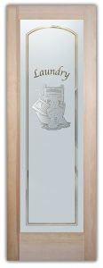 Laundry Room Door with Carved and Etched Glass by Sans Soucie
