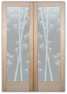 double enty doors Etched Glass Asian Style Foliage trees Bamboo Shoots Sans Soucie