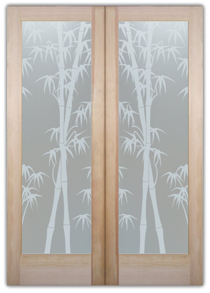 Bamboo Shoots Interior Etched Glass Doors Asian Design