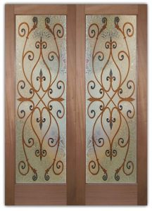 Glass Doors Interior and Front Door Etched Carved Painted Ironwork