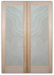 Double Entry Doors Etched Glass Beach Decor Hibiscus Waves Tropical Coastal Decor