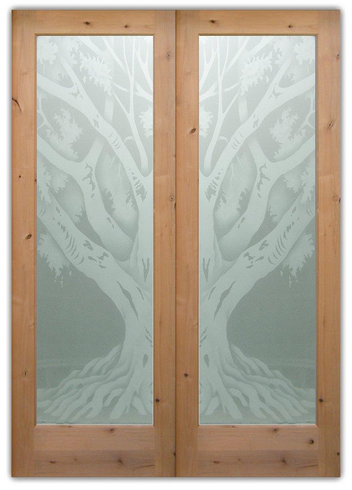Double Entry Glass Doors Etched Glass Rustic oak tree Sans Soucie