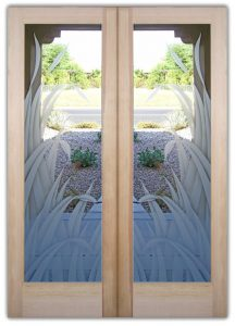 double entry doors with glass frosted custom glass etching tropical decor reeds